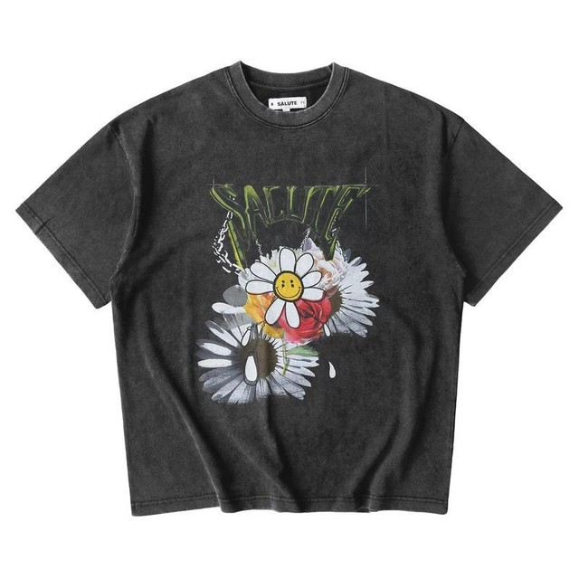 SALUTE Washed Flower Vintage T-Shirts CHARCOAL