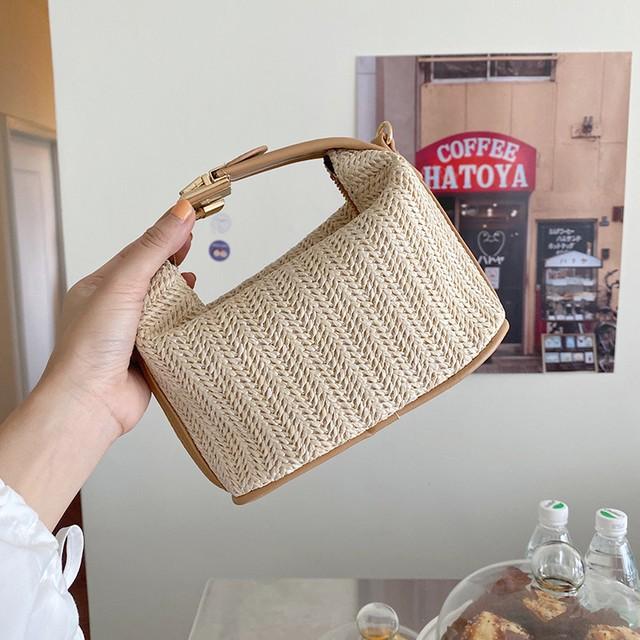〈カフェシリーズ〉春のストロー織りバッグ