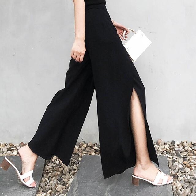 パンツ ワイドパンツ 黒ワイドパンツ ワイドパンツ スリット フレアパンツ スリット フロントスリットパンツ 体型カバー 美脚 リゾートファッション 上品 きれいめ 大人女子ファッション 20代 30代 40代 P6388