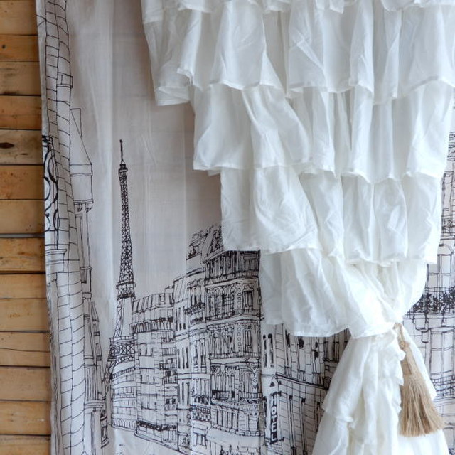 TOPANGA INTERIOR COTTON VOILE RUFFLED CURTAIN コットンボイルラッフルカーテン W105xH180cm