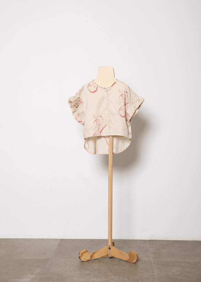 【21SS】folkmade(フォークメイド) face print blouse ブラウス beige(S/M/L)