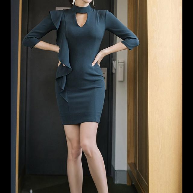 タイトドレス 七分袖 ミニドレス ミニワンピース グリーン レディース ナイトドレス ラウンジドレス セクシードレス
