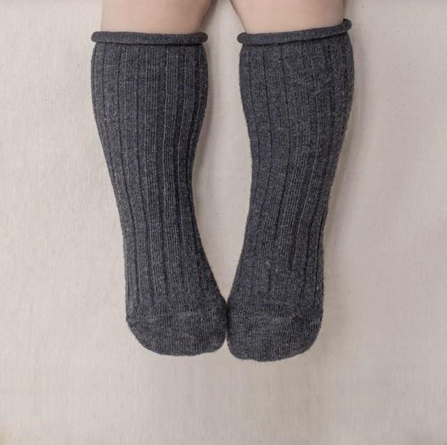 再入荷 ☆ Baby rib socks (チャコール) F245SO080814063