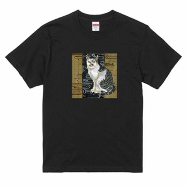 『日本画×金箔ネコ』 United Athle5.6ozTシャツ ブラック