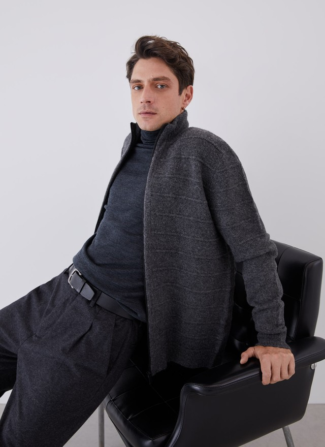 KNITTED CARDIGAN WITH FRONT ZIPPER