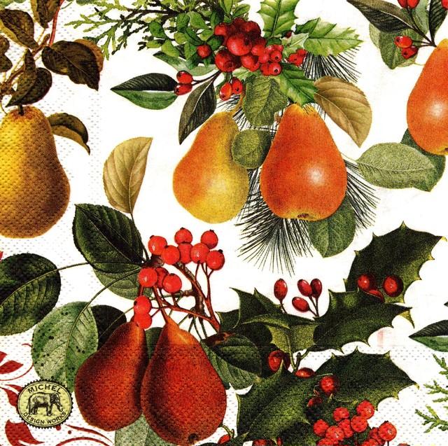 2020秋冬【MICHEL DESIGN WORKS】バラ売り1枚 ランチサイズ ペーパーナプキン In a Pear Tree ホワイト