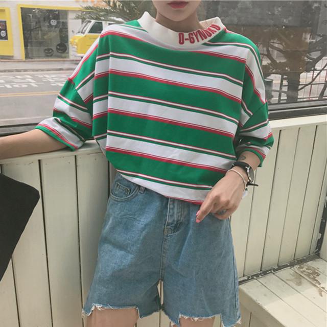 2018SS オルチャン 韓国☆トールネック☆ボーダートップス