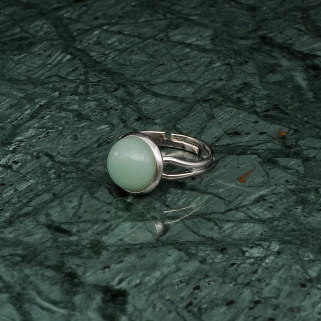 ROUND STONE RING SILVER 004