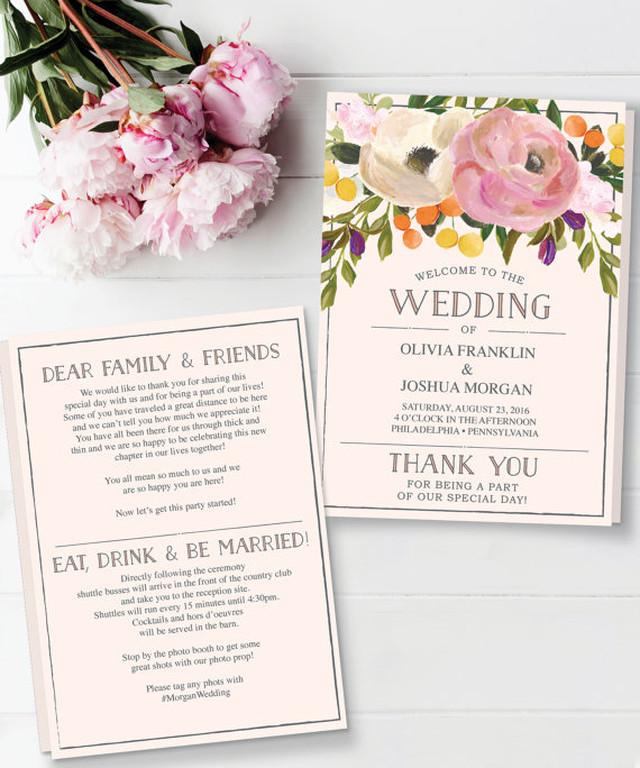 【Sweet Blooms】ゲストが何名でもこの値段♥︎自分で作る席次表&プログラムブックキット│結婚式