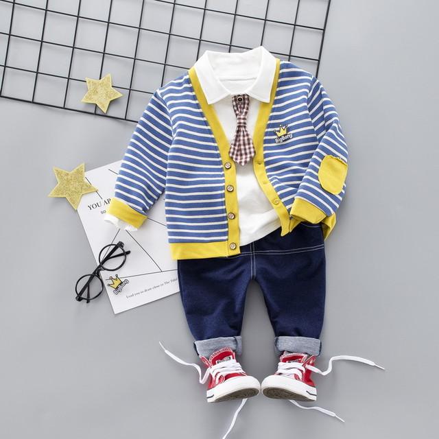 【セットアップ 】ファッションストライプ柄カラーマッチングカーディガン無地シャツ レギュラー丈三点セット24835063