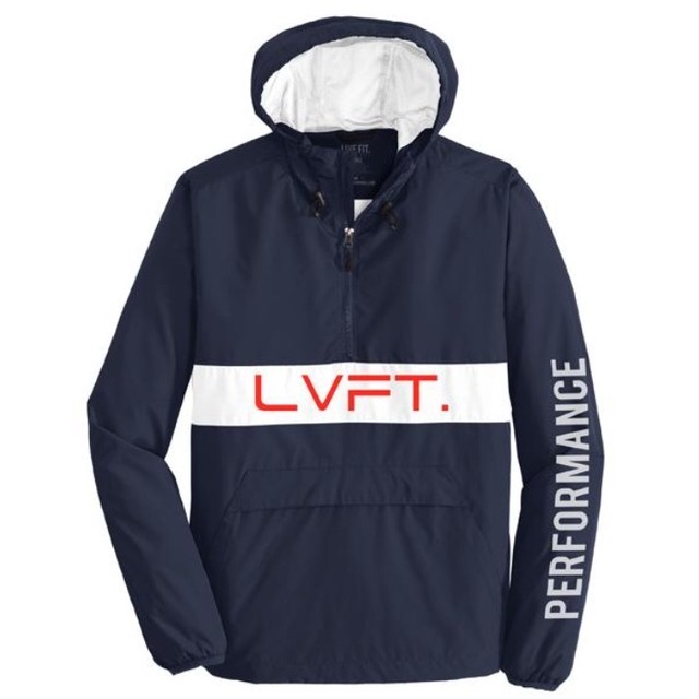 LIVE FIT Icon Anorak Jacket- Navy/Red