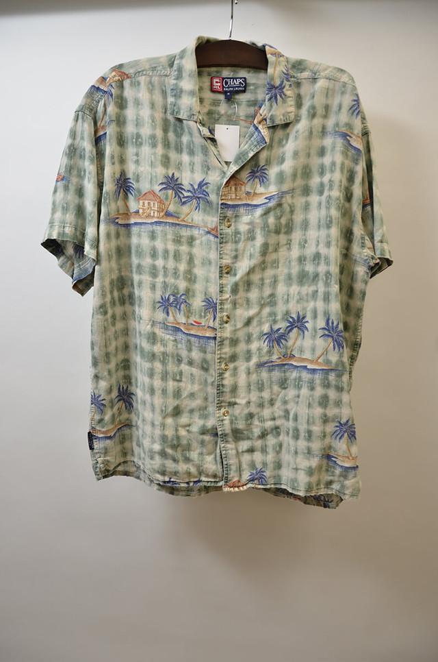 【Mサイズ】 CHAPS チャップス SS COTTON/LINEN ALOHA SHIRT アロハシャツ GREEN グリーン 400602190660
