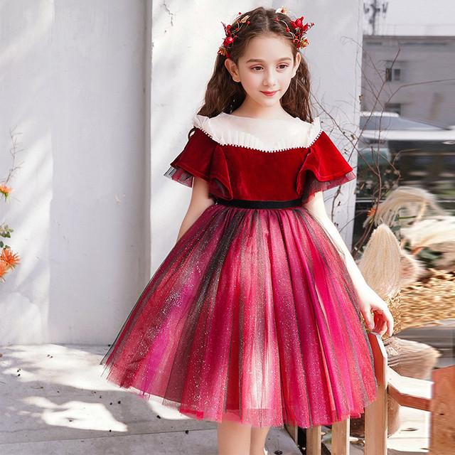 子供ドレス 子どもドレス キッズドレス 子供服装 演出装 舞台装 女の子 子供ワンピース 100 110 120 130 140 150 160 プレゼント 誕生日 お嬢さん お姫様 ピアノ 演奏会 レッド 赤い