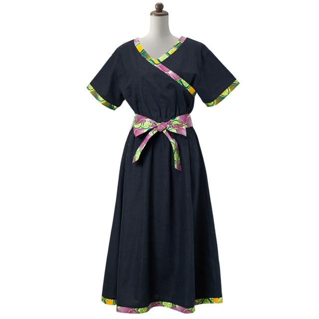 カシュクールワンピース ネイビー レモン (日本縫製) 異素材 アフリカンプリント アフリカンファブリック アフリカンバティック アフリカ布 ガーナ布 ラップスカート