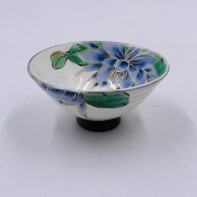 【陶あん】~SALE~ 京焼 清水焼  月下美人ブルー 指スジ朝顔型茶碗*限定3個*