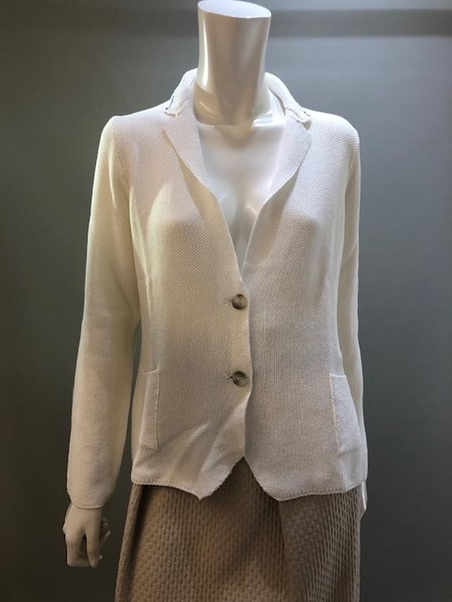H.A.N.D 34709 Col.502(White) ニットジャケット イタリア製