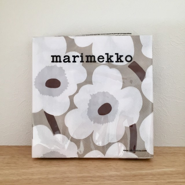 【marimekko】ランチサイズ ペーパーナプキン UNIKKO ホワイト×リネン