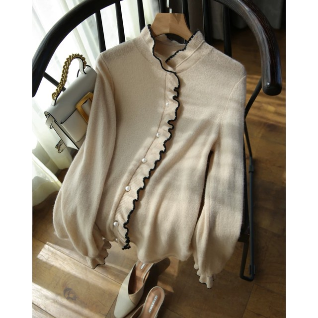 light brown frill cardigan