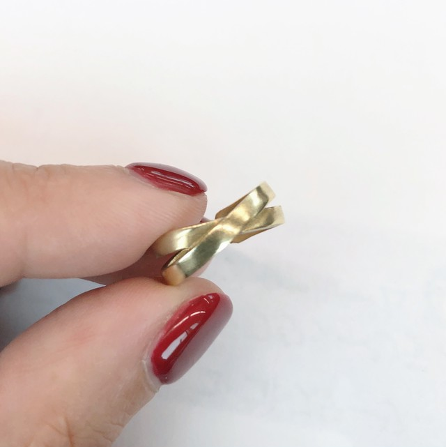 Raw brass Rings - X pinky ring RG-044