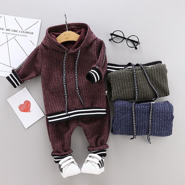 【子供服】着心地いいコットン毛糸フード付き長袖レギュラー丈子供服男の子2点セット22572997