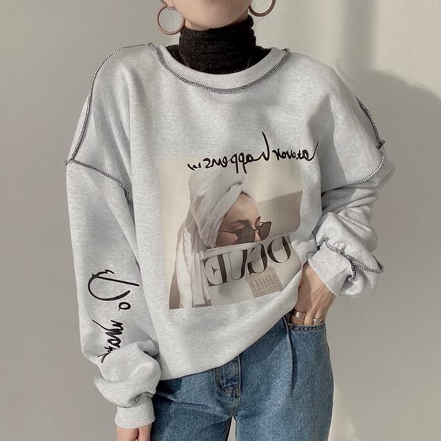 ルーズシルエットステッチセーター
