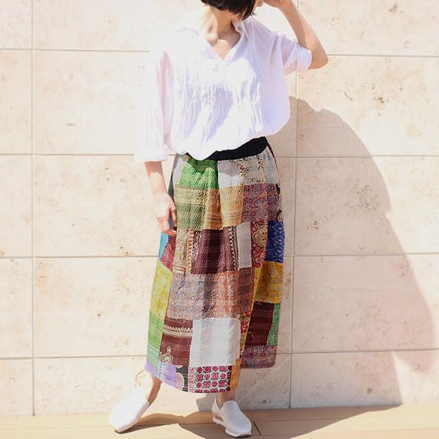 パッチワーク刺し子シルクカンタギャザースカート【C】