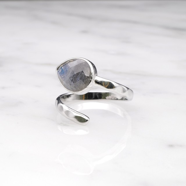 SINGLE STONE OPEN RING SILVER 020