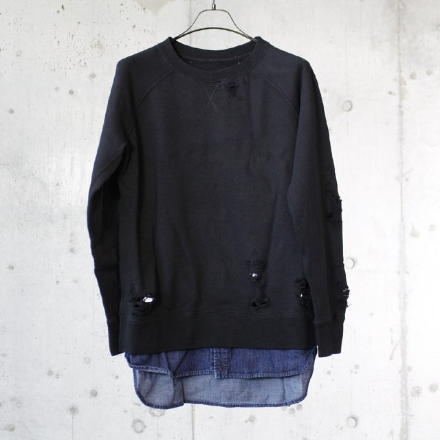 Denim × Sweat shirt / E01PO906
