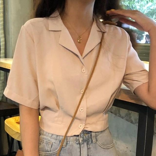 【トップス】人気爆発中シングル ブレスト折襟無地 半袖シャツ30849303
