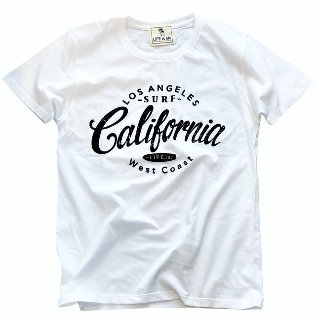 LIFE is CALIFORNIA Tシャツ(white×black)¥3000+tax