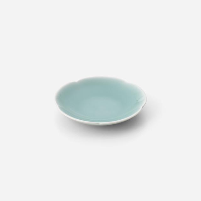 青磁花型 小皿