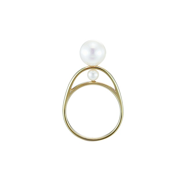 K18YG Piled Ring with Two Akoya Pearls