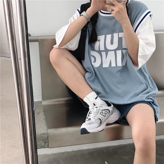 ユニフォームフェイクレイヤードTシャツ
