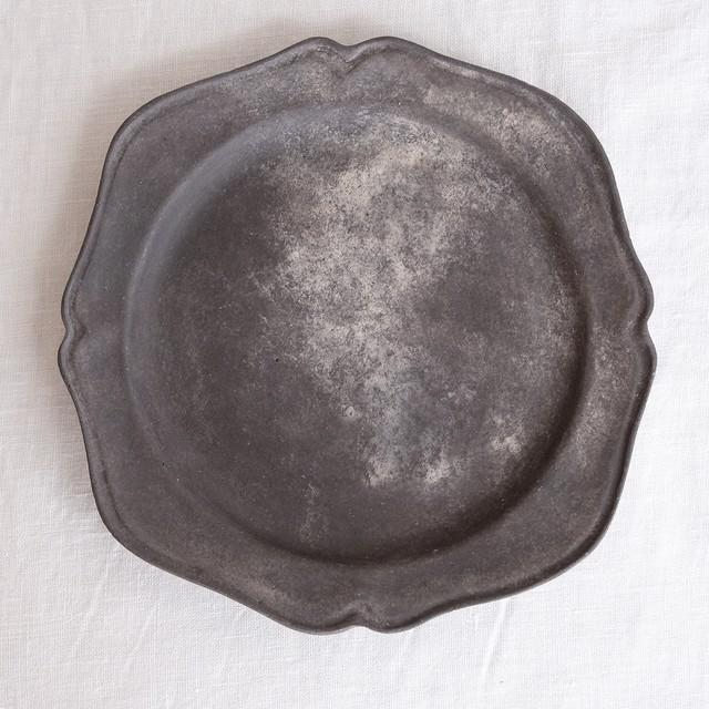 紙上征江 Masae Kamiue  フラワーリムプレート M 黒