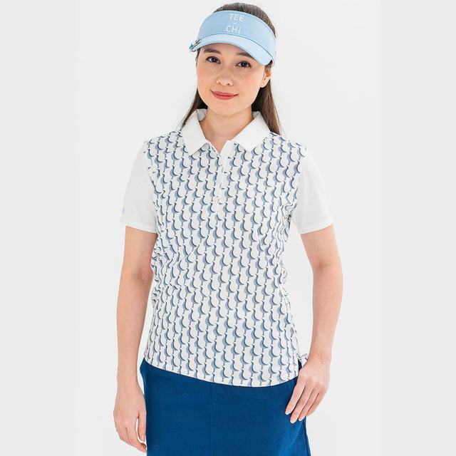 Tee-chi レディース サンゴクロスポロシャツ <千鳥><WHITE>