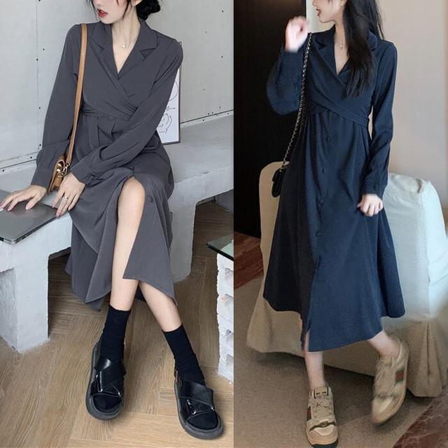 襟付き ワンピース バックリボン ウエストマーク ロング丈 長袖 ハイウエスト 韓国ファッション レディース  シャツワンピースAライン 大人可愛い ガーリー / French chic design long shirt dress (DTC-653607074889)