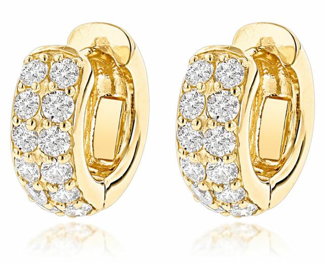 14K GOLD ROUND DIAMOND HUGGIE EARRINGS HOOPS 0.62CT