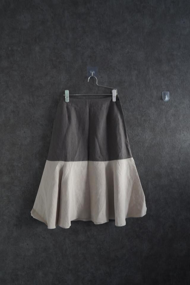 【winter Special  price】 ha za ma bi-color linen skirt