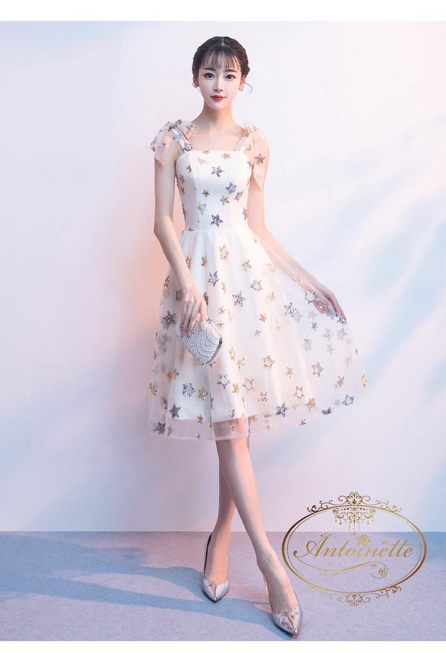 レディース キラキラ ビジュー 可愛い ブラック ノースリーブ リゾート ワンピ わんぴーす  結婚式 シンプル 二次会 パーティードレス dress ANLO435