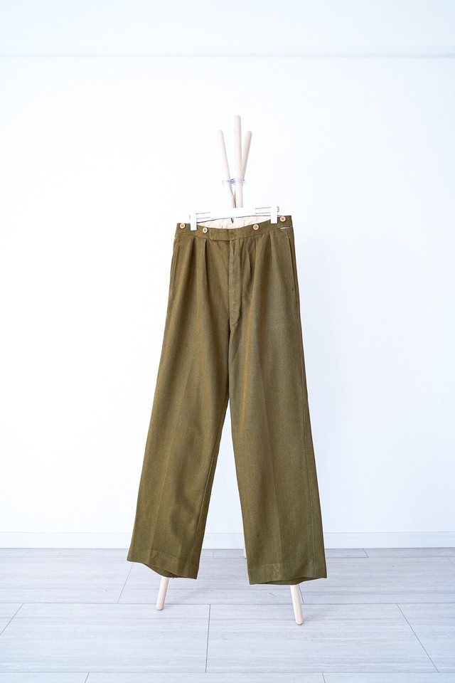 """【1940s】""""British Army"""" Officer Wool Gabardine Trousers, Made-to-order / v388"""