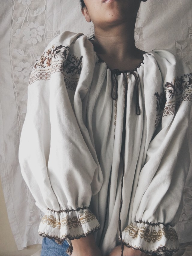 Antique Embroidered Linen Blouse