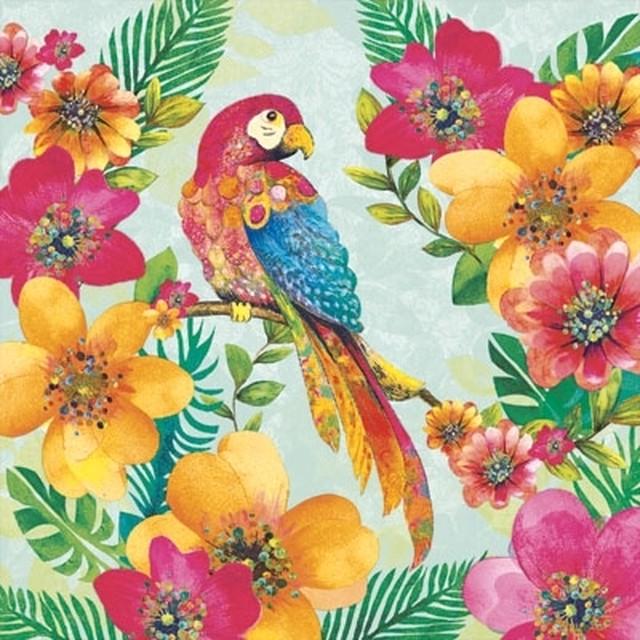 予約商品【Ambiente】バラ売り2枚 ランチサイズ ペーパーナプキン Tropical Parrot グリーン