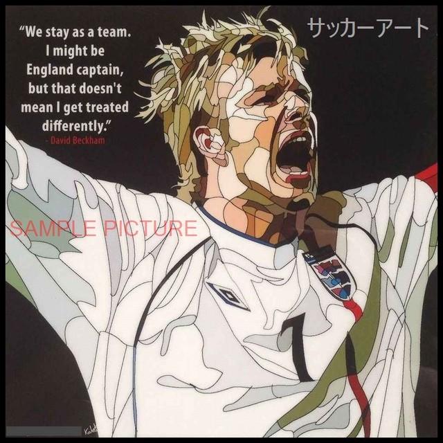 【51*51cm 特大サイズ】 サッカーグラフィックアートパネル デビッド・ベッカム イングランド代表2002年日韓大会 木製 壁掛け ポスター (002-005)