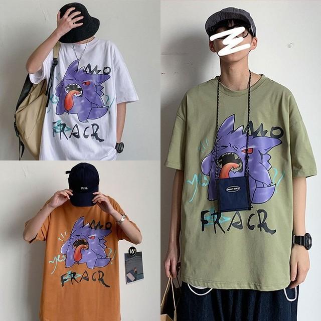 ユニセックス 半袖 Tシャツ メンズ レディース キャラクター プリント オーバーサイズ 大きいサイズ ルーズ ストリート TBN-613419380122