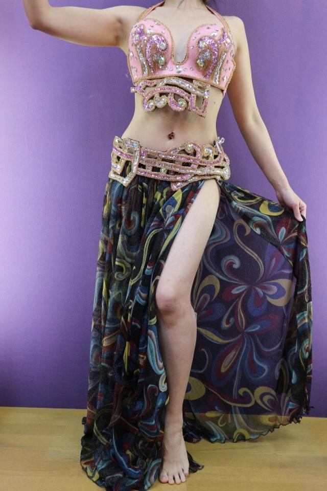 エジプト製 ベリーダンス衣装 ターキッシュスタイル 三点セット ゴールドインド風
