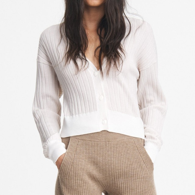 rag&bone   DALLYCE CROPPED CARDIGAN     CHALK