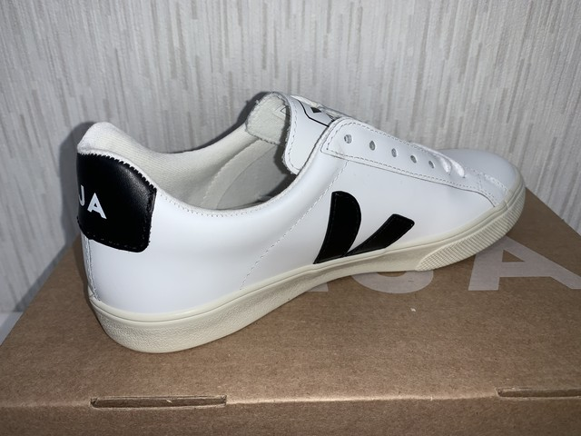 VEJA(B) ESPLAR LOGO LEATHER EXTRA WHITE BLACK :23cm 20%OFF
