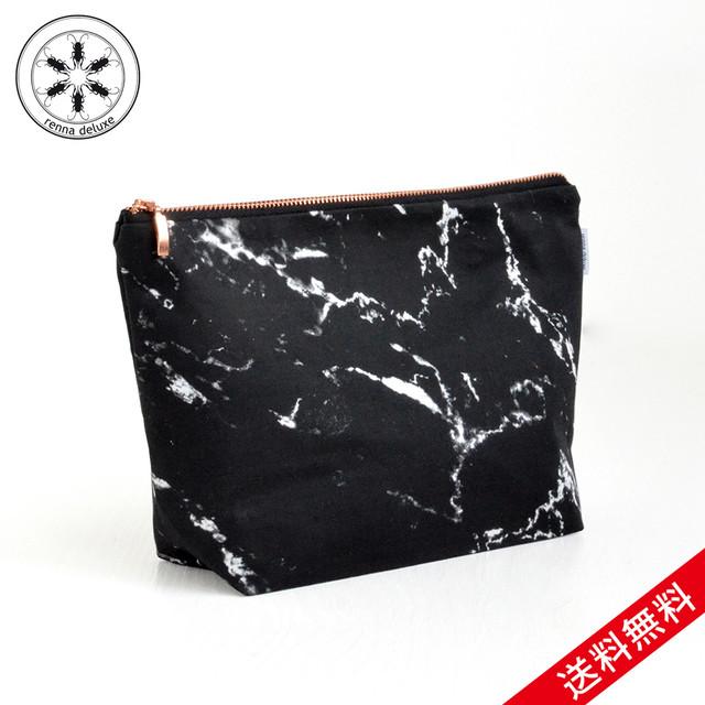 【送料無料】renna deluxe MARBLE bag Lサイズ W27 × D8 × H19cm マーブル ブラック バッグ メイクアップバッグ ポーチ ペンシルケース ローズゴールドコッパージッパー