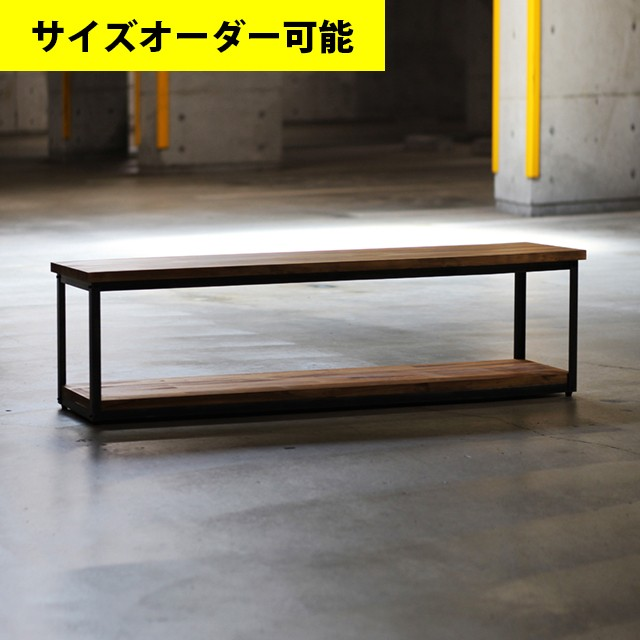 IRON FRAME LOW SHELF 127CM[OAK COLOR]サイズオーダー可