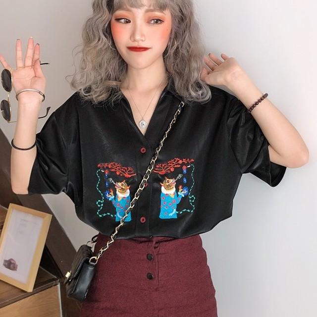 【tops】半袖シャツレトロファッション刺繡抜群デザインⅤネック